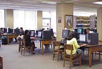 The computers on the first floor of the library