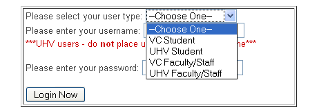 The first step to logging in is selecting your user type